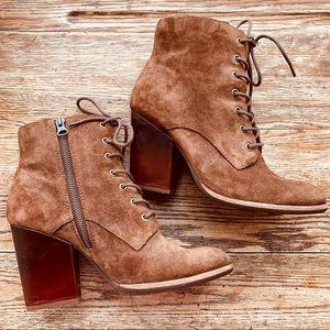 Kork-Ease—Elfa Leather Suede Block Heel Bootie (8)